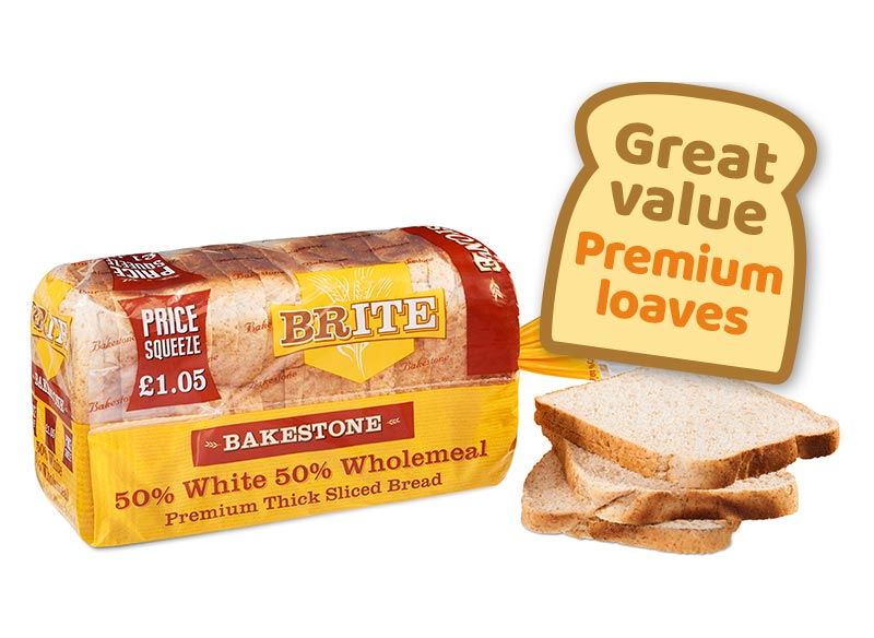 Bakestone Brite Thick Loaf 50% Wholemeal 50% White